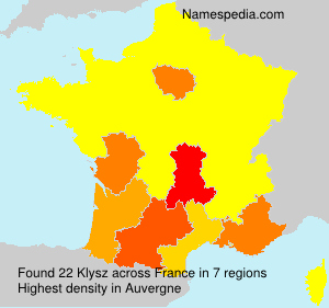 Surname Klysz in France