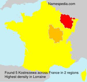 Surname Kostrezewa in France