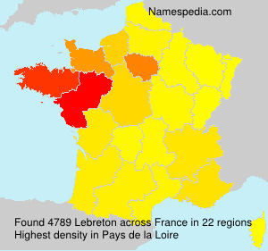 Surname Lebreton in France