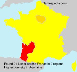 Familiennamen Lissar - France