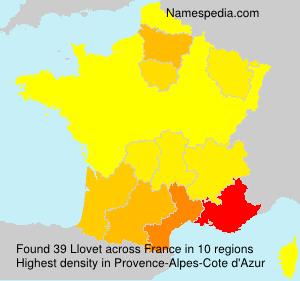 Familiennamen Llovet - France