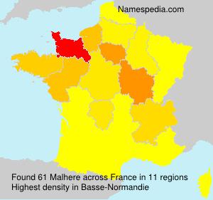 Surname Malhere in France
