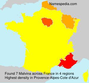 Surname Malvina in France