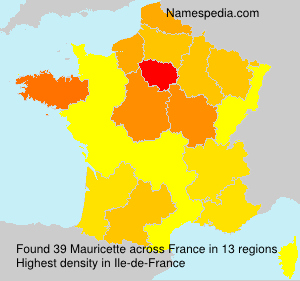 Surname Mauricette in France
