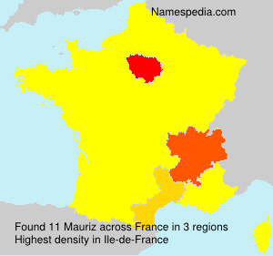 Surname Mauriz in France