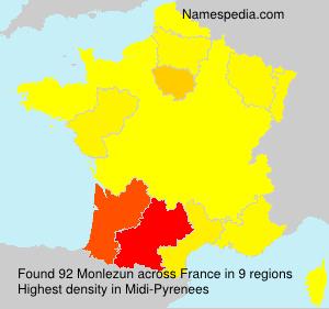 Surname Monlezun in France