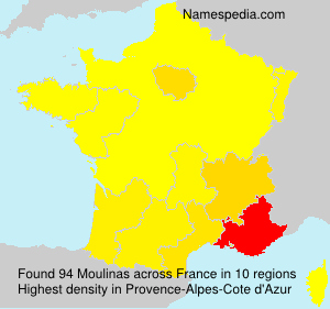 Surname Moulinas in France