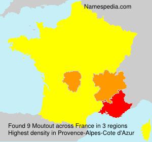Familiennamen Moutout - France