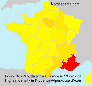 Surname Moutte in France