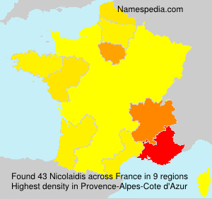 Surname Nicolaidis in France