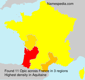 Surname Opic in France