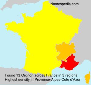 Surname Orgnon in France