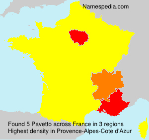 Surname Pavetto in France