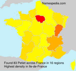 Surname Petiet in France
