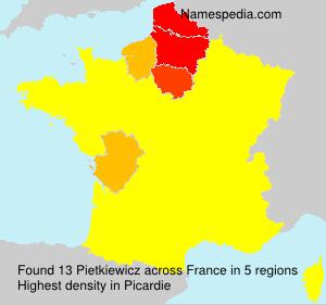 Surname Pietkiewicz in France