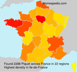 Surname Piquet in France