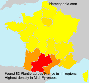 Surname Plantie in France