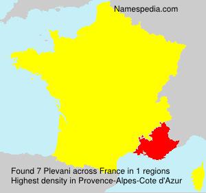 Surname Plevani in France
