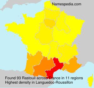 Familiennamen Rastouil - France