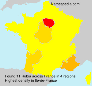 Surname Rubia in France