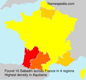 Familiennamen Sabadin - France