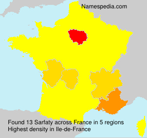 Surname Sarfaty in France