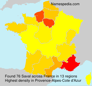 Surname Saval in France