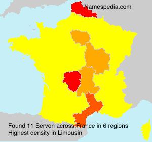 Surname Servon in France
