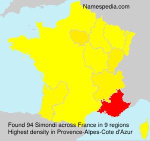 Surname Simondi in France