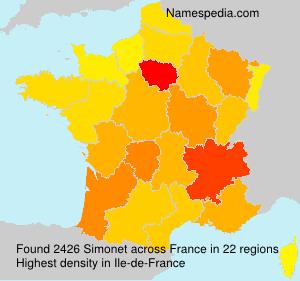 Familiennamen Simonet - France