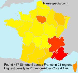 Surname Simonetti in France