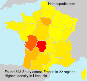 Surname Soury in France