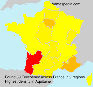 Surname Teycheney in France