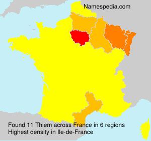 Surname Thiem in France
