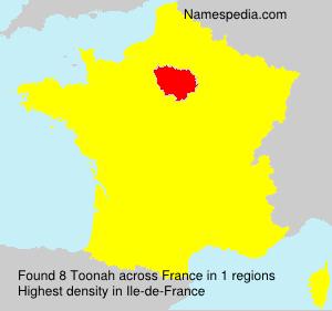 Familiennamen Toonah - France