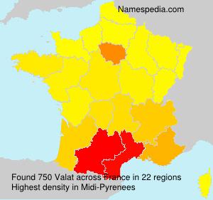Surname Valat in France
