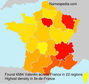 Surname Valentin in France