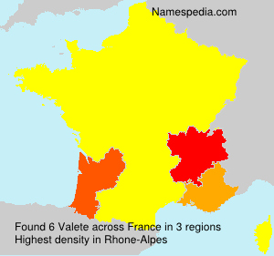 Surname Valete in France