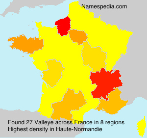 Surname Valleye in France