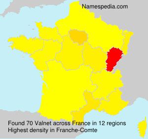 Familiennamen Valnet - France