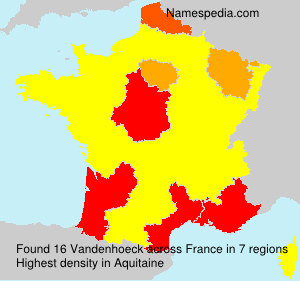 Surname Vandenhoeck in France