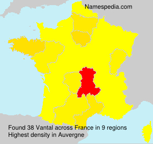 Surname Vantal in France