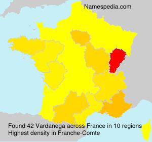 Surname Vardanega in France