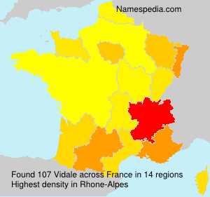 Familiennamen Vidale - France