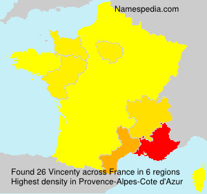 Surname Vincenty in France