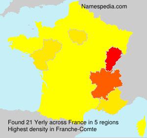 Familiennamen Yerly - France