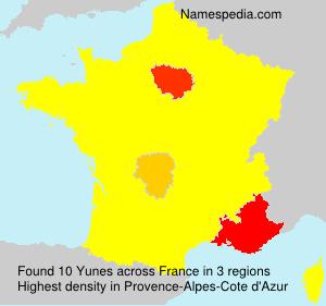 Familiennamen Yunes - France