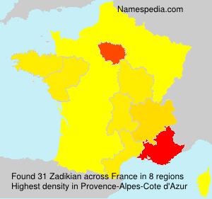 Surname Zadikian in France