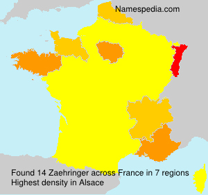 Surname Zaehringer in France