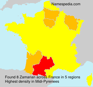 Surname Zamarian in France